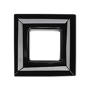 Focal, Glass, Black, 30x30mm Faceted Open Square. Sold Individually
