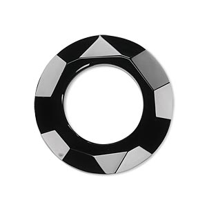 Focal, Glass, Black, 30mm Faceted Round Donut. Sold Individually