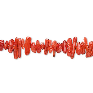 Bead, Bamboo Coral (dyed), Red, 6x1mm-16x4mm Cupolini, C Grade, Mohs Hardness 3-1/2 4. Sold Per 16-inch Strand