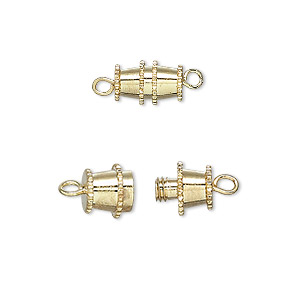 Clasp, Barrel, Gold-plated Brass, 10x5mm. Sold Per Pkg 10