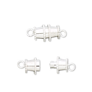 Clasp, Barrel, Silver-plated Brass, 12x8mm. Sold Per Pkg 10