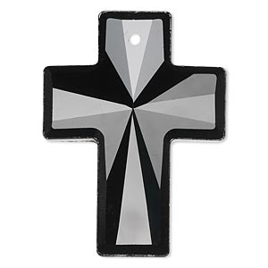 Focal, Glass, Black, 40x30mm Faceted Cross. Sold Individually