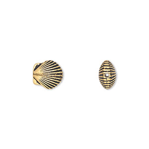 Bead, TierraCast®, Antique Gold-plated Pewter (tin-based Alloy), 9x8.5mm Double-sided Shell. Sold Per Pkg 2 94-5682-26