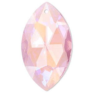 Focal, Glass, Pink AB, 46x26mm Faceted Marquise. Sold Individually