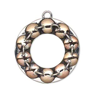 Focal, Antiqued Sterling Silver Copper, 31mm Single-sided Fancy Open Round Round Dot Design Loops. Sold Individually