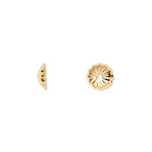 Bead Cap, Gold-plated Brass, 8x2mm Ribbed Round, Fits 8-10mm Bead. Sold Per Pkg 100