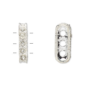 Spacer Bars Imitation rhodium-plated Clear