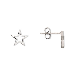 Earstud Earrings Stainless Steel Silver Colored