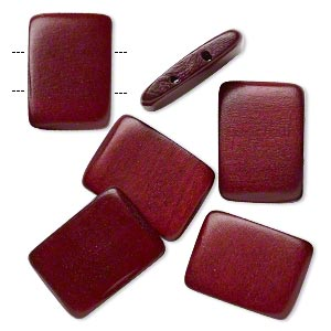 Bead, Wood (dyed / Waxed), Dark Brown, 30x20mm Double-drilled Flat Rectangle. Sold Per Pkg 6
