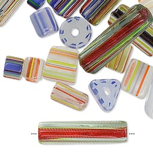 Bead Mix, Cane Glass, Mixed Colors, 3x3mm-28x5mm Mixed Shape. Sold Per 1-pound Pkg, Approximately 500-700 Beads