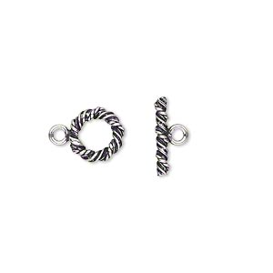 Clasp, Toggle, Antiqued Sterling Silver, 9mm Twisted Round. Sold Individually
