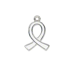 """Charm, Silver-plated """"pewter"""" (zinc-based Alloy) Enamel, White, 18x15mm Single-sided Awareness Ribbon. Sold Individually"""