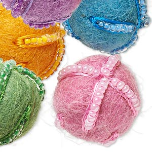 Component, Felt / Cotton / Glass, Assorted Colors, 22mm Undrilled Round Lines Seed Beads. Sold Per Pkg 10