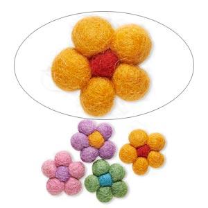 Component Mix, Felt, Mixed Colors, 27x25mm Undrilled Flower. Sold Per Pkg 4