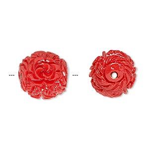 Bead, Resin, Red, 14mm Round Flower Leaf Design. Sold Per Pkg 4
