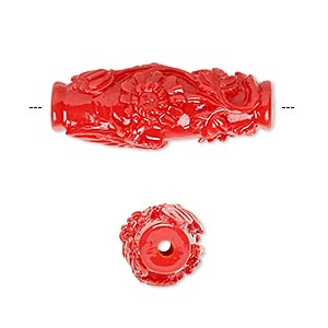 Bead, Resin, Red, 29x11mm Oval Butterfly Flower Design. Sold Per Pkg 2
