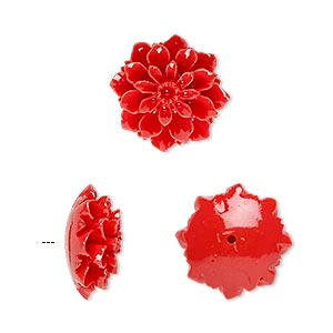 Bead, Resin, Red, 15x15mm Half-drilled Flower. Sold Per Pkg 2