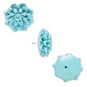 Bead, Resin, Turquoise Blue, 15x15mm Half-drilled Flower. Sold Per Pkg 2
