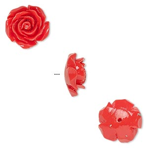 Bead, Resin, Red, 12x12mm Half-drilled Rose. Sold Per Pkg 4