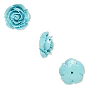 Bead, Resin, Turquoise Blue, 12x12mm Half-drilled Rose. Sold Per Pkg 4