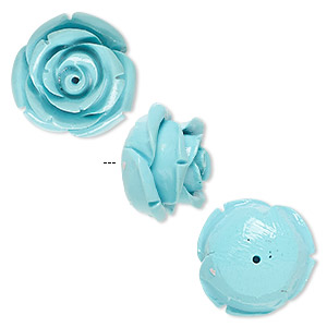 Bead, Resin, Turquoise Blue, 19x19mm Half-drilled Rose. Sold Per Pkg 2
