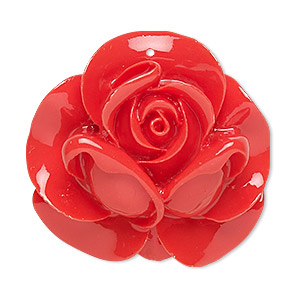 Focal, Resin, Red, 35x34mm Rose. Sold Individually