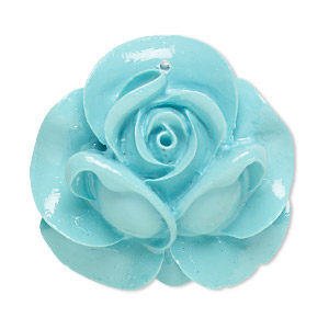 Focal, Resin, Turquoise Blue, 35x34mm Rose. Sold Individually