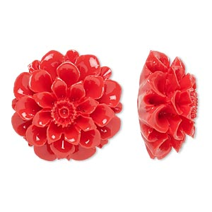 Embellishment, Resin, Red, 28x28mm Undrilled Flower. Sold Individually