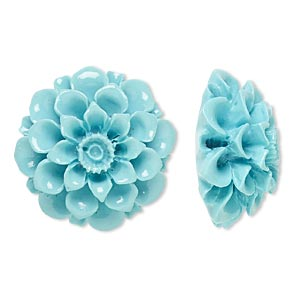 Embellishment, Resin, Turquoise Blue, 28x28mm Undrilled Flower. Sold Individually