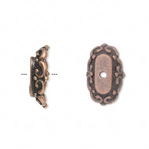 "Bead Cap, Antique Copper-finished ""pewter"" (zinc-based Alloy), 18x11x5mm Oval, Fits 26x24mm-35x25mm Bead. Sold Per Pkg 6"