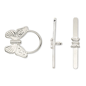Clasp, Toggle, Sterling Silver, 18x16mm Round Etched Butterfly. Sold Individually