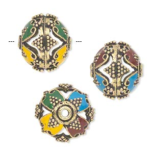 Bead, Enamel Antique Gold-finished Brass, Multicolored, 17x15mm Round Cutouts Dots. Sold Individually