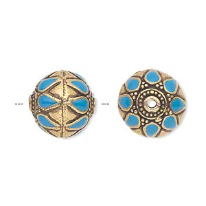 Bead, Enamel Antique Gold-finished Brass, Turquoise Blue, 15mm Round Dots Teardrops. Sold Individually
