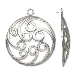 Focal, JBB Findings, Antique Silver-plated Brass, 34mm Single-sided Domed Flat Round Swirl Design. Sold Individually 7973BRASP