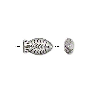 Bead, Hill Tribes, Antiqued Silver-plated Brass, 14x7mm Double-sided Textured Fish. Sold Per Pkg 4