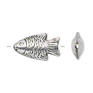 Bead, Hill Tribes, Antiqued Silver-plated Brass, 22x12mm Double-sided Textured Fish. Sold Per Pkg 2