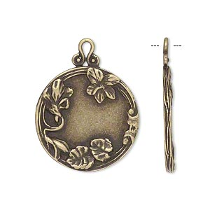 Drop, JBB Findings, Antiqued Brass, 22mm Single-sided Flat Round Flower Leaves. Sold Individually 7884ABR