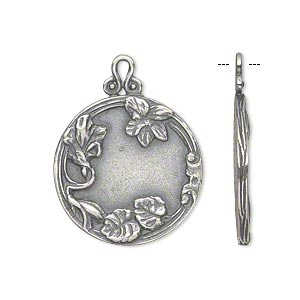 Drop, JBB Findings, Antique Silver-plated Brass, 22mm Single-sided Flat Round Flower Leaves. Sold Individually 7884BRASP
