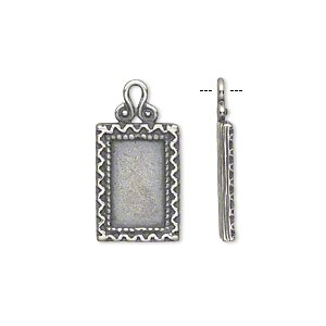 Drop, JBB Findings, Antiqued Silver-plated Brass, 16x11.5mm Single-sided Flat Rectangle Frame Zigzag Edge, 12x7.25mm Rectangle Setting. Sold Individually 7887BRASP