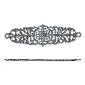 Focal, JBB Findings, Gunmetal-plated Brass, 42x14.5mm Single-sided Filigree Celtic Cross Two Loops. Sold Individually 7834BRGM