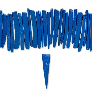 Bead, Wood (dyed / Waxed), Dark Blue, 25x4mm Hand-cut Top-drilled Stick. Sold Per 16-inch Strand