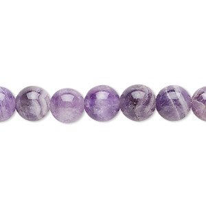 Bead, Banded Amethyst (natural), 8mm Round, B Grade, Mohs Hardness 7. Sold Per 16-inch Strand 9934GS