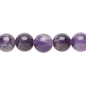 Bead, Banded Amethyst (natural), 10mm Round, B Grade, Mohs Hardness 7. Sold Per 16-inch Strand 9935GS