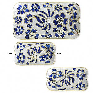 Bead, Cloisonné, Dark Blue/white/gold, (1) 46x25mm (2) 28x16mm Double-sided Rectangles. Sold Per 3-piece Set
