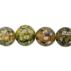 Bead, Fire Crackle Agate (dyed / Heated), Green, 12mm Faceted Round, B Grade, Mohs Hardness 6-1/2 7. Sold Per 16-inch Strand