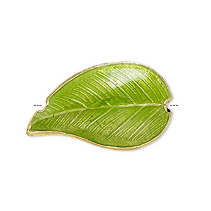 Bead, Cloisonné, Enamel Gold-finished Copper, Green, 27x16mm Double-sided Leaf. Sold Per Pkg 4