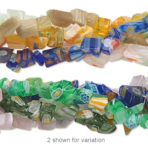 Bead Mix, Glass / Millefiori Glass / Cat's Eye Glass, Mixed Colors, Small Chip. Sold Per Pkg (5) 34-inch Strands