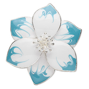 """Focal, Silver-finished """"pewter"""" (zinc-based Alloy) Enamel, Turquoise Blue White, 41x41mm Flower. Sold Individually"""