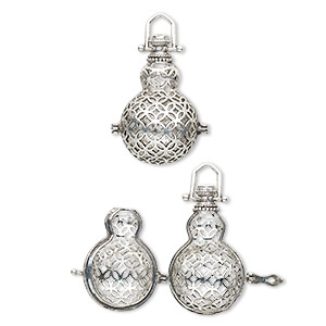 Bead Cages Silver Plated/Finished Silver Colored