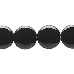 Bead, Black Onyx (dyed), 14mm Flat Round, B Grade, Mohs Hardness 6-1/2 7. Sold Per 16-inch Strand 9961GS